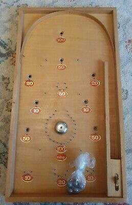 RARE VINTAGE WOODEN TABLE TOP BAGATELLE BOARD GAME BY EXITOY ~ Czechoslovakia  • 100£