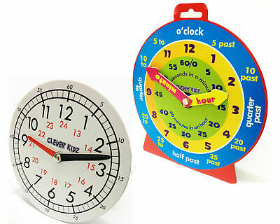 Children Teaching Clock Learning To Tell Time Magnetic Back Educational Clock • 3.25£