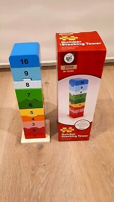 Bigjigs Toys Wooden Rainbow Number Stacking Tower, Fine Motor Skills Activity • 6.95£