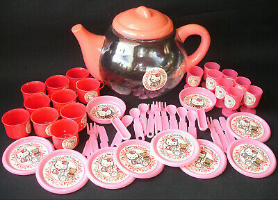 Hello Kitty Girls Kids Teaset Clear Teapot + Cups Saucers Cutlery Vintage Toy • 34.99£