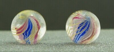 47/64  2 Antique German Handmade Glass Marble - Same Cane - 18.5mm • 4.20£
