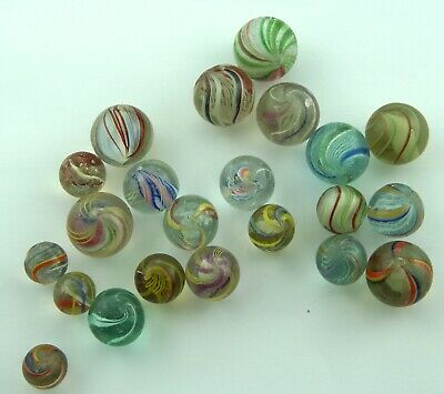 22 Antique German Glass Marbles - 13 - 20mm (33/64  - 51/64 ) • 68£