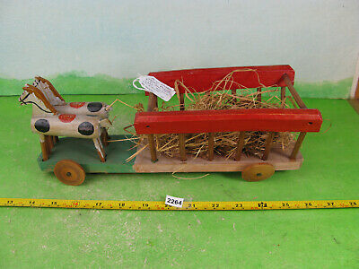 Vintage Pull Along Wooden Toy Antique Style Horses Collectable Model 2264 • 15£