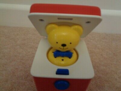 Vintage Jack In The Box Teddy Bear Push Button Small • 5.50£