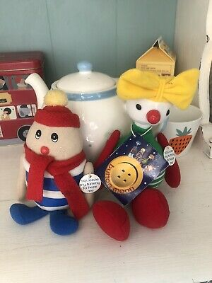 Vintage Button Moon Musical Plush Soft Toys Eggbert And Mrs Spoon • 0.99£
