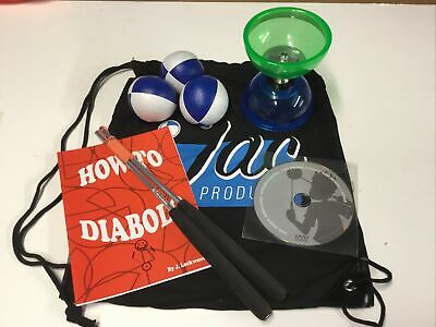 Quartz Diabolo & Dvd, Aluminium Handsticks,set Of 3 Juggling Balls, & Carry Bag • 27.99£