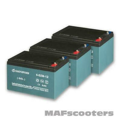 3 X 12 Volt 12 Ah Battery Electric E Scooter New MAF Evolution Xreme 36 Volt • 114.99£