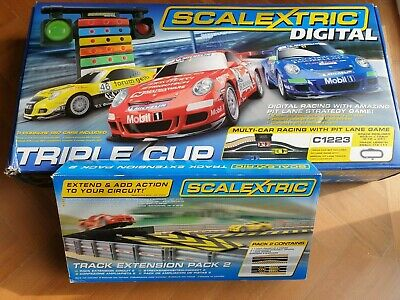 Scalextric DIGITAL TRIPLE CUP BOXED SET C1223 + With JUMP Extension Pack C8511 • 125£