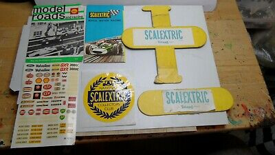 Scalextric Mini Leaflets, Box Set Centres (60's) NSCC Badge, Decal Sheet All VGC • 4.95£