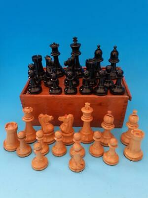 ANTIQUE WOODEN WEIGHTED & FELTED CHESS SET, KING 85mm • 58£