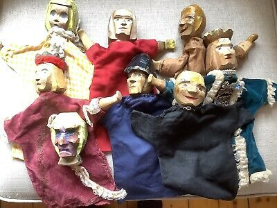 8 VINTAGE 1950s WOODEN PUPPETS: PUNCH,POLICEMAN,KING,QUEEN PRINCESS Etc • 10£