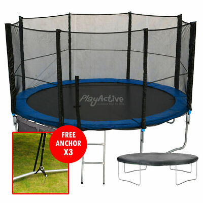 16FT Trampoline With FREE Safety Net Enclosure, Ladder, Rain Cover, + Shoe Bag  • 299.99£