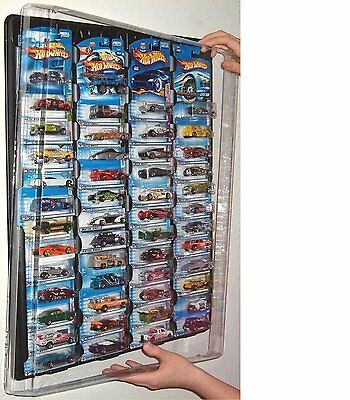 Hot Wheels Display Case (black) For Carded Cars W Dust Cover For Up To 52 Cars • 29.97£