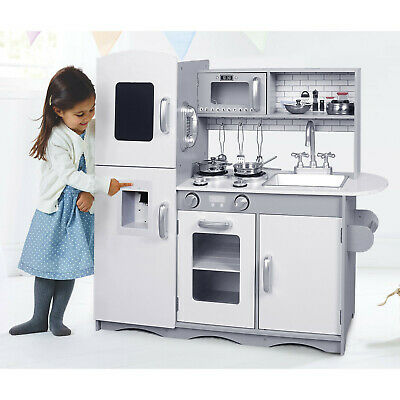 Large Play Kitchen W/ Sounds Lights & Utensils Kids Wooden Educational Toy Grey • 85.99£