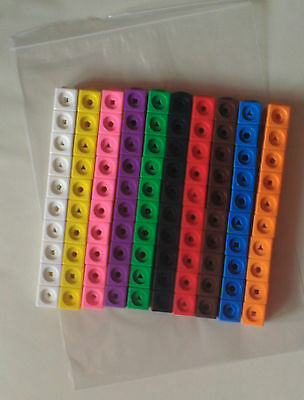 Maths Link Cubes (NEW Pack Of One Hundred Cubes 10 X 10 Different Colours) • 9.75£