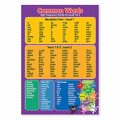 A3 Laminated Common Key/Words  Level 1 & 2 Educational Poster • 3.50£