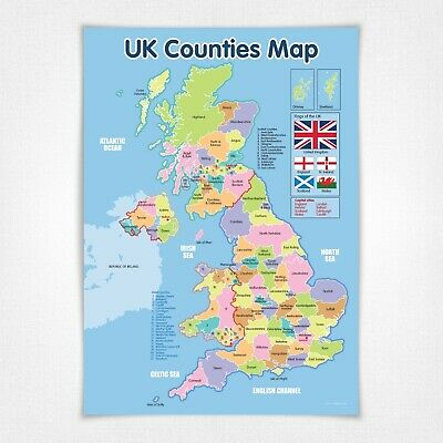 A3 Laminated NEW UK Counties Map Educational Poster • 3.50£