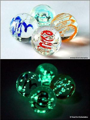 4 X 16mm Luminescent Glow In The Dark Glass Marbles - Handmade Collectors Set • 9.99£