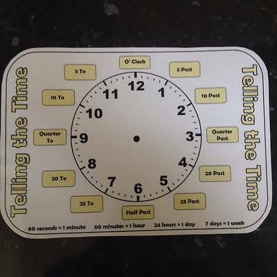 Learn To Tell The Time Write On Clock With Pen Teaching Children Analogue Time  • 3.49£