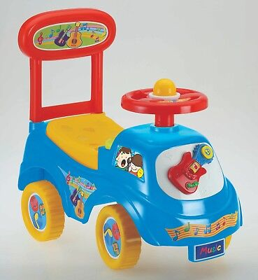 Push Along Sit On Ride On Car Quality Plastic Toy Children Music Theme Blue • 18.95£