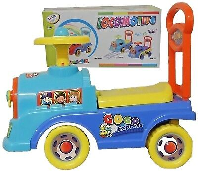 Push Along Ride On Walker Toy Car Children Locomotive Theme  With Clock Face  • 16.95£