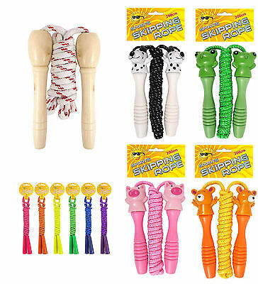 Traditional Childrens Skipping Rope, Wooden, Cute Animal Or Neon Handle 200cm • 5.99£