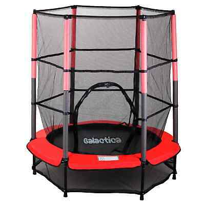 GALACTICA Children's Mini Trampoline With Safety Net – 4.5FT Kids Rebounder Red • 68.99£