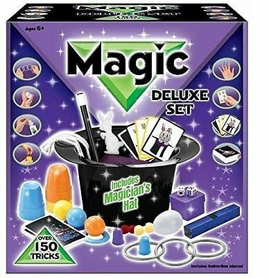 Deluxe Magicians Hat Magic Set 150 Tricks Kids Children Play Toys Game Illusions • 12.99£