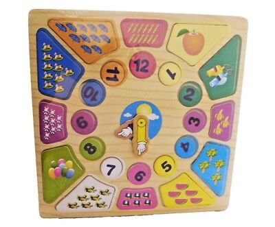 Child's Wooden Teach Time Clock Children's Learning Numbers Puzzle Teaching Toy • 5.95£