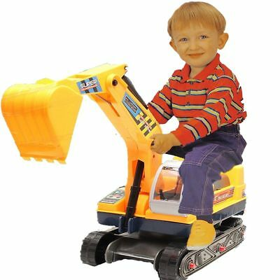 Children's Ride On Walker Push Along Excavator 2 In 1 Digger And Hard Hat • 26.95£