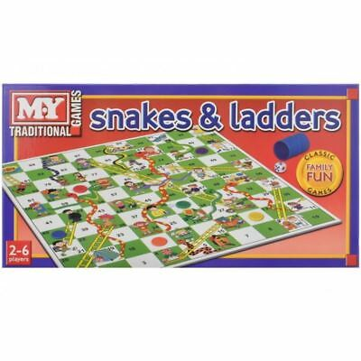 New Traditional Snakes & Ladders Childrens Kids Family Board Games Table Top • 6.45£