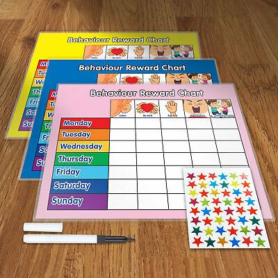REWARD CHART BEHAVIOUR  With FREE PEN AND STAR STICKERS • 9.95£