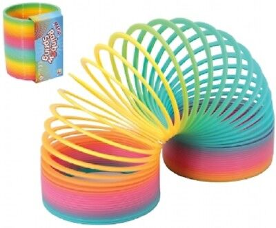 Mega Rainbow Spring Toy - Sc54 Colourful 10cm Wide Stretchy Stair Spring Fun • 4.99£