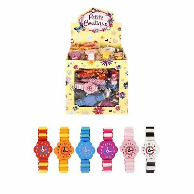 Wooden Watch Flower Face Elasticated Bracelet Party Bag Filler Play Classic Toy  • 1.79£