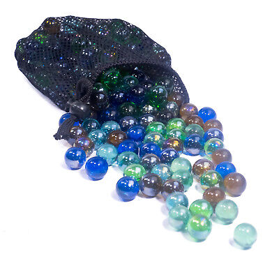 Bag Of 50 Glass Marbles - Sv11144 Colourful Traditional Large And Small Marbles • 2.99£