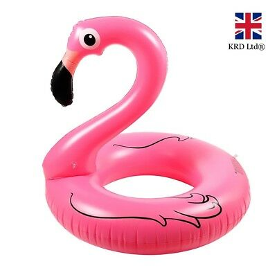 36  GIANT INFLATABLE FLAMINGO SWIMMING RING Water Float Raft Pool Fun Beach UK • 6.98£