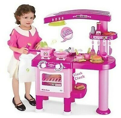 69 PC Large Children Kids Kitchen Cooking Role Play Pretend Toy Cooker Pink • 32.95£