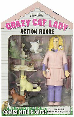 Crazy Cat Lady Action Figure Unique Gift Novelty Toy Kitten Lover Funny Cats • 13.75£