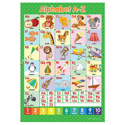 A4 Alphabet ABC's A-Z Poster English Wall Chart • 2.95£