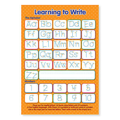 A4 Laminated NEW Learning To Write Letters And Numbers Educational Poster • 2.95£