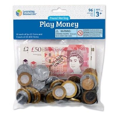 Learning Resources UK Play Money 96 Pieces | KS1 Maths Resource | Shop Role Play • 7.99£