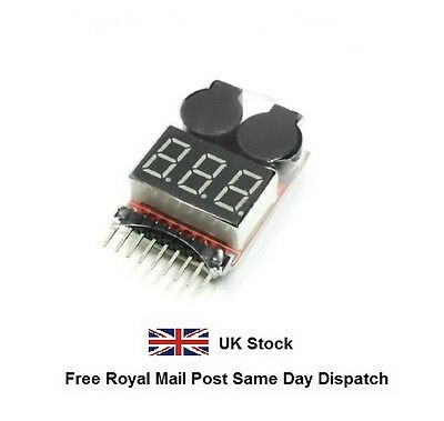RC Li-poly Battery Low Voltage Alarm Buzzer Indicator Checker Tester Meter • 3.99£
