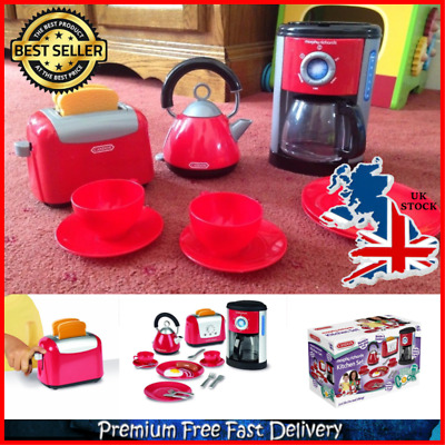 Kids Kitchen Play Set Realistic Applicance Toys With Kettle Toaster Coffee Maker • 15.46£