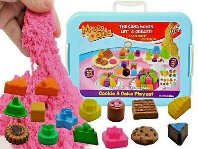 Motion Sand 1 Kg Deluxe Bucket Magic Play Sand,Cookie And Cake Set • 12.95£