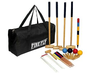 FIRE FLY Wooden Adult Croquet Set Garden Outdoor Party Games Mallet Complete New • 191.99£