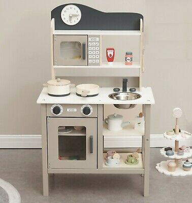 Large Wooden Play Kitchen With Accessories Kids Role Play Set Boys Girls Gift • 59.99£