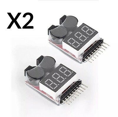 2 NEW RC LIPO Battery Low Voltage Tester 1-8S Buzzer Alarm Checker LED Indicator • 4.25£