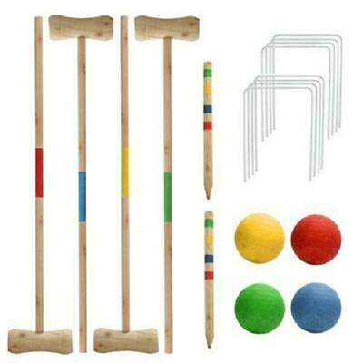 New 4Person Wooden Croquet Set Garden Game Summer Play Fun  • 14.99£