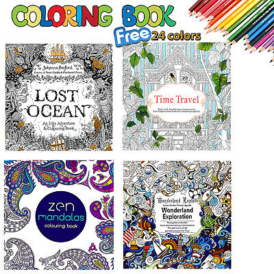 4 X Colouring Drawing Books + 24 Colour Pencils Set Anti Stress Drawing Children • 4.99£