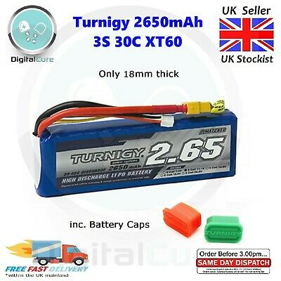 Turnigy 2650mAh 11.1V 3S 30C XT60 Lipo Battery Slim 18mm - 2200 3000 4000 • 25.95£